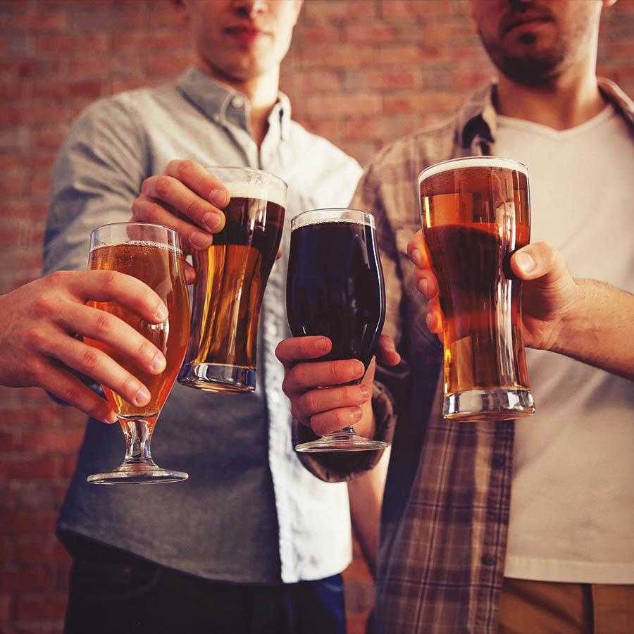 Craft beer glasses friends